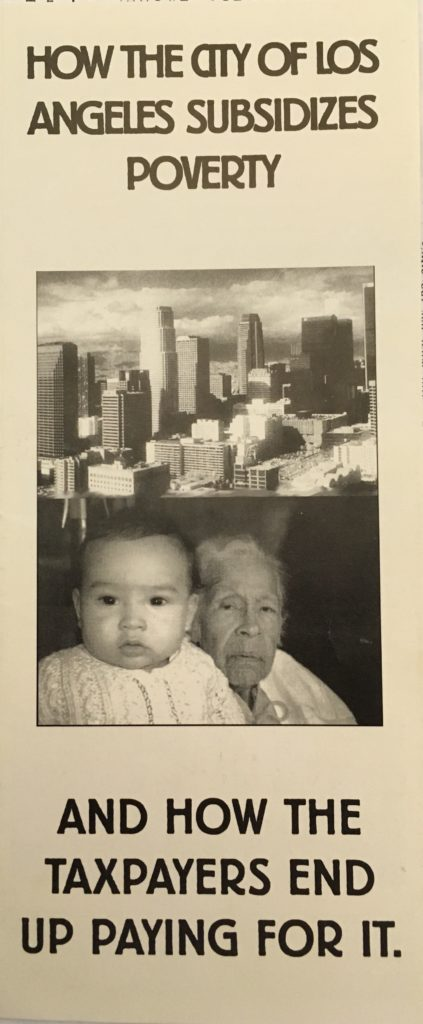 """""""How the City of Los Angeles Subsidizes Poverty and How the Taxpayers End Up Paying for It"""" (c. 1996)"""