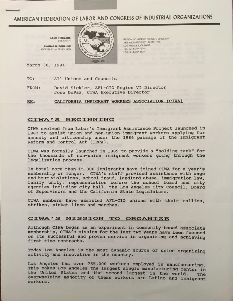 A memorandum appealing for support of the California Immigrant Workers Association