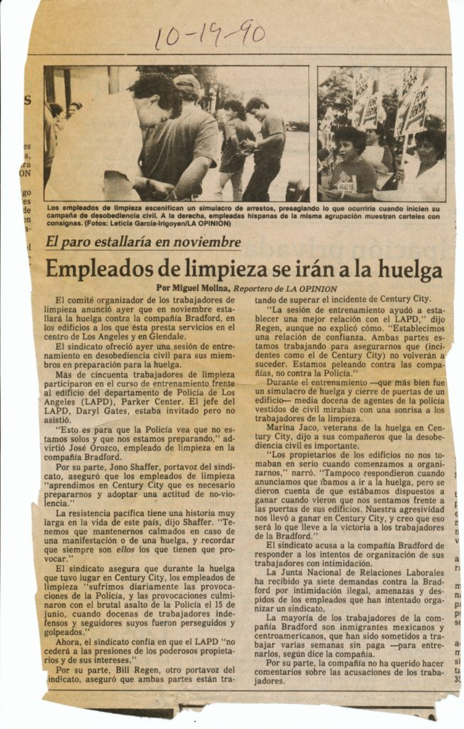 A newspaper clipping in Spanish
